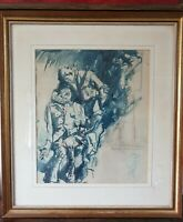 Frank Brangwyn 1867-1956 Two Wounded Soldiers Watercolour Ink War Painting Large