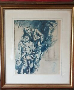 Frank Brangwyn1867-1956 Two Wounded Soldiers Watercolour Ink War Painting Large