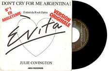 "JULIE COVINGTON - DON'T CRY FOR ME ARGENTINA - 7"" 45 VINYL RECORD PIC SLV 1976"