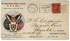 1908 Philadelphia, PA flag cancel on cover for the Patriotic Order Sons of Amer.