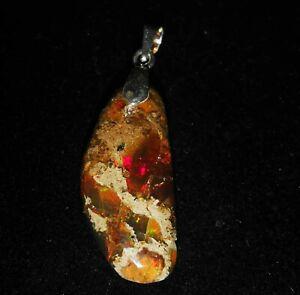 wunderschöne Welo Opal Kette - Äthiopien - viel Feuer - 925 Silber + Leder