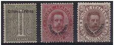ERITREA - SERIE 1893 - c. 1 + 10 + 40 NUOVI E PERFETTI MH* € 268,00