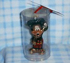 New Disney Mickey Mouse Glass Figurine Christmas Ornament