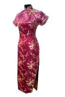 Vtg Sexy Women Burgundy Long Chinese Evening Dress Gown Cheongsam Qipao Sz S-6XL