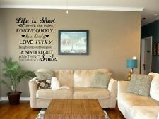 LIFE IS SHORT Vinyl Wall Decal Words Lettering Sticker Stencil Home Decor 36""