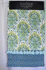 "Envogue Table Runner Blue Green Demask Floral Polka Dot 16"" by 90"""