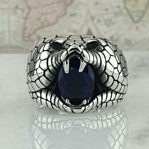 Solid 925 Sterling Silver Blue Sapphire Gemstone Men Ring Handmade Snake Style