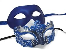 HIS N HERS PAIR COUPLES BLUE AND SILVER VENETIAN MASQUERADE PARTY PROM EYE MASKS