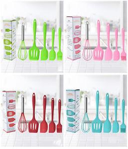 5Pcs Durable Spatula Kitchen Utensils Basting Brush Whisk Turner Kitchenware Set