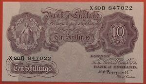 Ten Shilling Note Mauve Emergency Issue 1940 10/- War time banknote Free P&P
