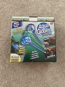 Aqua Globes Mini 3 Pack 6 Ounce Globes Hand Blown Glass Used