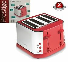 Prestige Auto Create Classic Red 1800W Stainless Steel 4-Slice Wide Slot Toaster