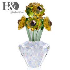 Glass Flower Vase Ornament Crystal Sunflower Figurine Table Ornament Home Decor