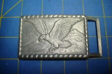 FLYING EAGLE BELT BUCKLE OVER USA MOUNTAINS PEWTER