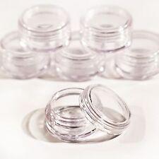 5 x 5g screw top craft pots for glitter, lip balm CLEAR LIDS Jdc5