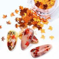 12 Boxes/Set Mulicolor Maple Leaf Nail Glitter Sequins Sparkles Flakes Stickers.