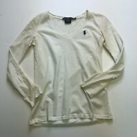 Ralph Lauren Sport Solid White Cotton Long Sleeve V Neck Blouse Shirt Top XS