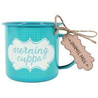 """Morning Cuppa""  Blue Coffee Retro Tin Enamel 10oz Mug Ideal Camping Gift"