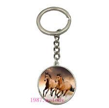 Vintage Glass Cabochon silver Matal Car Key chain ring pendant(horses