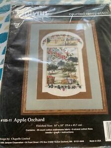 janlynn counted cross stitch kit Apple Orchard Chapelle Limited New