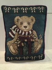 "Holiday Xmas ""Madison Landing"" tapestry pillow Christmas Bear & Candy Canes Nwt"
