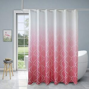 Pink White Moroccan Ombre Waterproof Elegant Boho Chic Fabric Shower Curtain