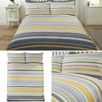 Ochre Duvet Covers Striped Banded Design Printed Grey Quilt Cover Bedding Sets