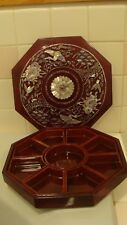 Antique Chinese 9 Section Octogan Lacquer Wood Abolone Shell Box Beautiful Birds