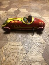VINTAGE RARE J CHEIN U.S.A. TIN LITHO WIND UP RACE CAR Racer TOY #52 with DRIVER