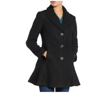 Kensie Women's Wool-Blend Peplum Coat Black Size Small