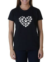 Ladies Heart Paw T-Shirt Dog Cat Animal Lover Pet Tee Shirt Valentines Day Love