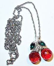 STERLING Designer Signed CHERRY Swarovski Crystal PENDANT on STERLING CHAIN #3!