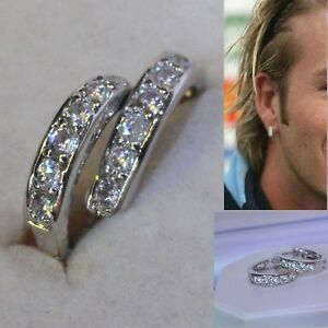 Mens Deluxe 18k white gold filled simulated diamonds hoop earrings, Unisex, Gift