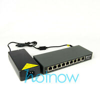 DSLRKIT 120watt 9 Port 8 PoE Switch 802.3af 802.3at Power Over Ethernet PSE18AT
