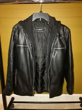 Black Rivet Leather Jacket w/ Hooded Liner. Black, Kids XL