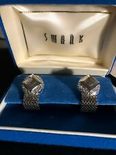 VINTAGE CUFFLINKS SWANK MESH WRAP CUFF LINKS FORMAL WEAR