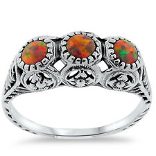ORANGE LAB FIRE OPAL VINTAGE ANTIQUE STYLE 925 STERLING SILVER RING SIZE 5,#271
