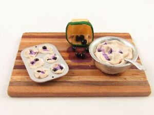 Miniature Handcrafted Blueberry Muffins on Cutting Board for Dollhouse E151