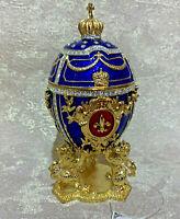 """Faberge Egg Blue Royal Lion. Russian souvenir (6.3"""")"""