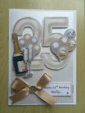 Luxury Hand-Made 25th Birthday Card-Can Be Personalised-Any Relative/Friend