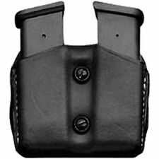 Desantis Double Magazine Pouch, Ambidextrous, Fits 9MM/40 Caliber, Black Leather