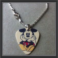 """🇨🇦 Disney Mickey Mouse Guitar Pick WITH 16.5"""" SILVER PLATED SNAKE NECKLACE NEW"""