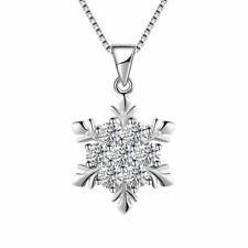 Shining Snowflake Pendant 925 Sterling Silver Chain Necklace Womens Jewellery UK