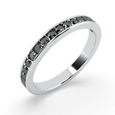 . 3mm 0.50ct Round Black Diamond Half Eternity Ring in White Gold