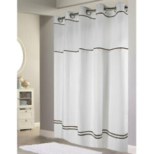 Hookless Shower Curtain with Snap On Liner White Brown Stripe Polyester 71 x 77""