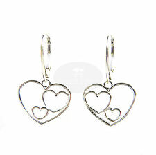 FASHIONS FOREVER® Sterling Silver Threesome Heart Leverback Earrings, MADE IN UK
