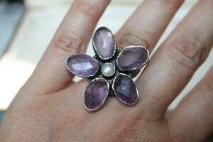 Large Vintage Sterling Silver AMETHYST & PEARL Flower STATEMENT Ring 6 3/4