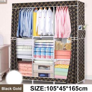 Portable Closet Wardrobe Clothes Rack Storage Organizer With Shelf Fabric