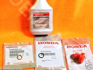 NEW GENUINE HONDA Power Steering Pump Oil O-Ring Seals & Fluid Reseal 4 pc Kit