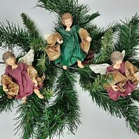 """3 Victorian Starched Fabric Christmas Cherub Angels  Ornaments 5"""""""